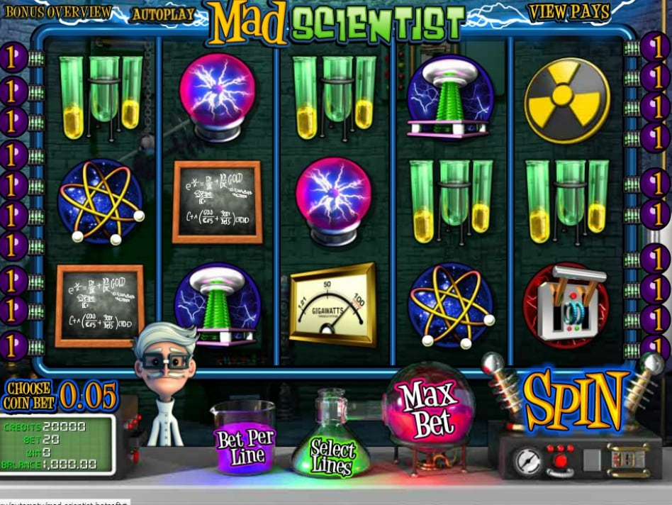 Игровой автомат Mad Scientist включает в себя увлекательный бонусный уровень, который активируется только после того, как игрок соберет минимум три пробирки для опытов.Омск